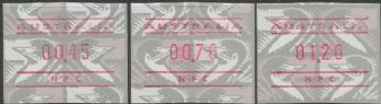 Australian Framas: Emu Button Set 45c, 70c, $1.20: National Philatelic Centre
